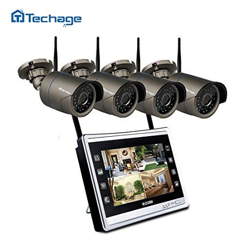 techage Plug & Play 4CH HD Wifi nvr0p Indoor Outdoor IR Visión Nocturna Seguridad Cámara IP WiFi CCTV Sistema, sin disco duro Kit P2P 720p