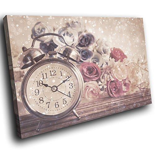 Ab1281a incorniciato tela stampata colorful wall art - orologio rosa vintage - astratto soggiorno camera da letto moderna pezzo casa design d'interni guida facile hang (30x20cm)