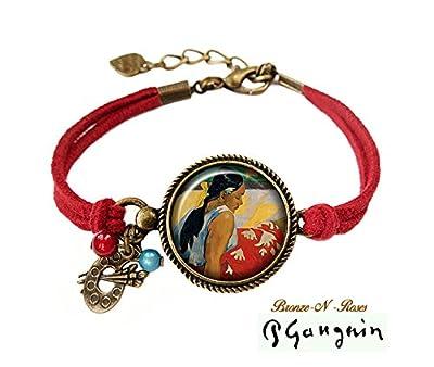 Bracelet tableau paul gauguin * femmes de tahiti * cabochon bronze rouge verre