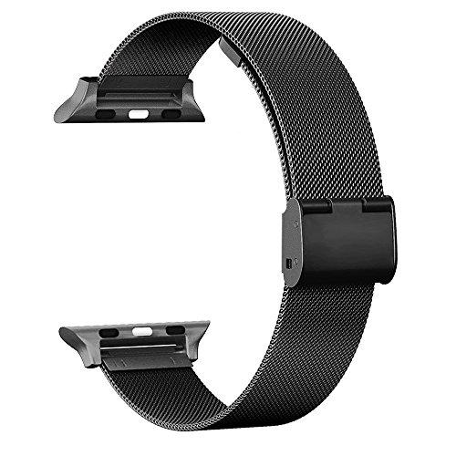 Adallor cinturino per apple watch 42 38 mm, orologio custodia braccialetto in acciaio inossidabile band loop milanese per iwatch serie 3, serie 2, serie 1, sport, edition, nike (nero, 38 mm)