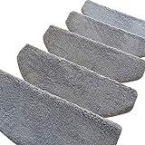 HAIPENG Treppenmatten Teppich Treppen Verdicken Treter Pads Nicht Gleiten Selbstklebend Schritt Super Weich Zuhause Anpassen, 3 Farben, 4 Größen (Farbe : Gray-1 pcs, größe : 65x24x3cm)