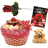 Skylofts Lovely Chocolate Basket With A Cute Teddy Bear (25Pc Chocolates), Love Card & Artificial Rose Valentine Gifts