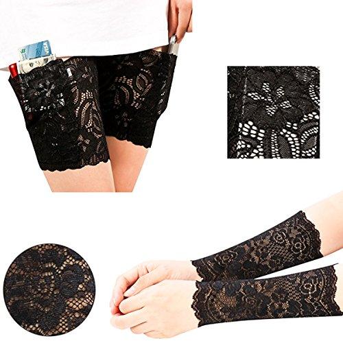 Xidan FM8 Frauen Elastisch Rutschfest Schenkelbänder mit Silikon und Sichere Tasche mit Sunblock Spitze Handgelenk Arm Manschette Elastisch Bands
