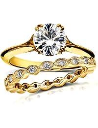 Vintage para siempre brillante Moissanite y Diamond Bridal Set 12/5Carat (quilate) 14K amarillo oro _ 10.0