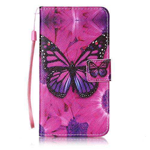 Feeltech LG X Power Hülle,LG X Power Magnet Leder Wallet Cover,Elegant Soft PU Kartenfach Extra Dünn Tasche Bunte Relife-Muster [Stand Funktion] Karte Halterung Klapp hülle Flip Book Design Case Flexi Roter Schmetterling