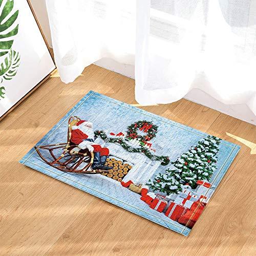 YYAANNGG Weihnachtsdekoration Santa Claus, die nahe bei Schaukelstuhl Badteppich rutschfeste Türmatte Wohnzimmer Kinderteppich Badezimmerzubehör 50x80cm sitzt