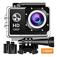 Action Camera Sport Camera 1080P Full HD Waterproof Underwater Camera with 140° Wide-angle Lens 12MP 2 Rechargeable Batteries and Mounting Accessories Kit - A20