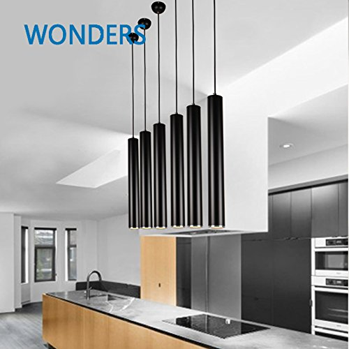 GENERIC H48D6cm white : Creative Modern cylinder Led pendant light for Living Room Dining Room Black Color hotel bar book shop decor Led Hanging Lamp