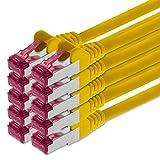 0,25m - gelb - 10 Stück - Netzwerkkabel CAT6a (10Gb/s) S-FTP CAT 6a Lankabel - GHMT zertifiziert PIMF 500 MHz kompatibel zu CAT 5e CAT 6 CAT7 für Switch, Router, Modem, Internet