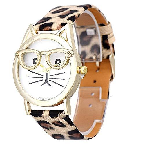 Quarz Armbanduhr, Brille Katze Uhr Faux Leder Uhrenarmband Analog Uhren für Damen Maedchen Frauen