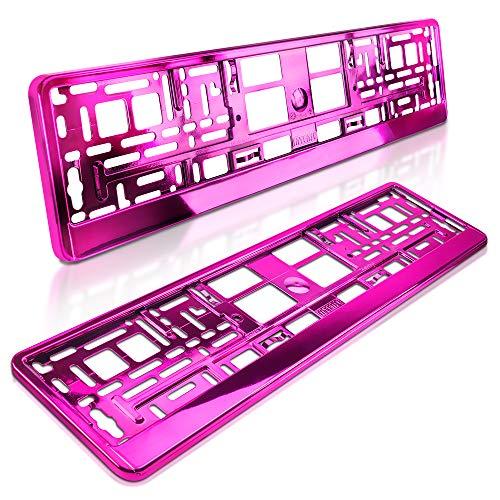 schildEVO 2 Kennzeichenhalter | PINK | Metallic | Hochglanz | Rosa | Chrom-Look | 520x110 mm