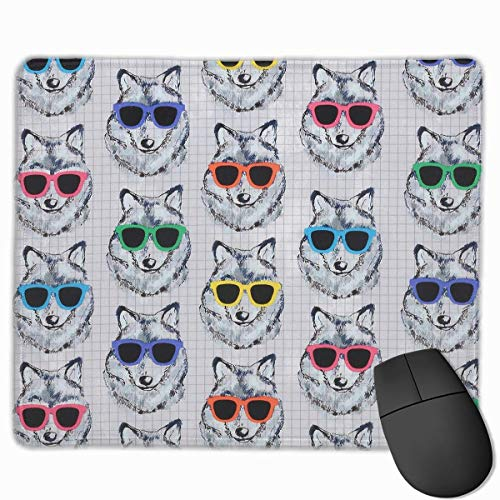 Mouse Pad Cool Wolves with Sunglasses Rectangle Rubber Mousepad 11.81 X 9.84 Inch Gaming Mouse Pad with Black Lock Edge