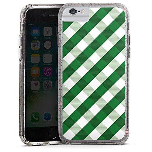 Apple iPhone 8 Bumper Hülle Bumper Case Glitzer Hülle Karo Green Pattern Bumper Case Glitzer rose gold
