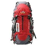 MAGIC UNION 50 Liter Wasserdichte Damen Herren Outdoor Sport Camping Wandern Trekking Trekkingrucksack Regenrülle Rot