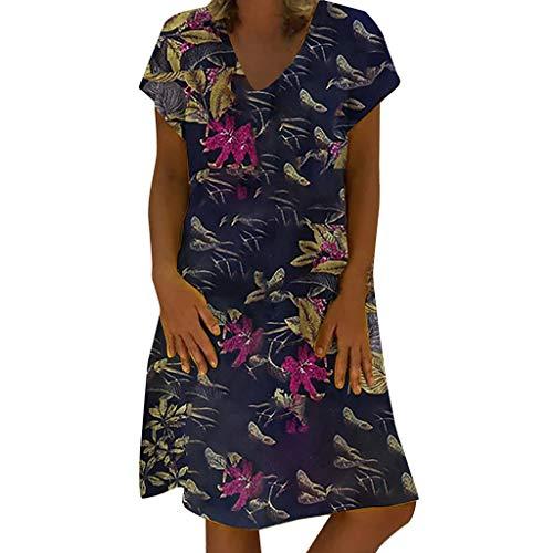 MMOOVV Damenkleid mit Retro-Blumendruck und V-Ausschnitt, kurzärmlig, lässig, großformatiges Kleid aus Baumwolle und Leinen (Marine 5XL) (Schwimmen Korsett Oben)