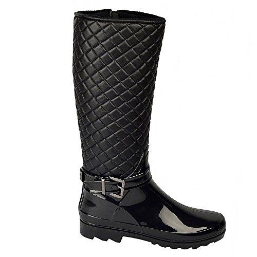 Kick Chaussures montantes pour femme imitation fourrure avec doublure matelassée Bottes à fermeture Éclair Noir - noir