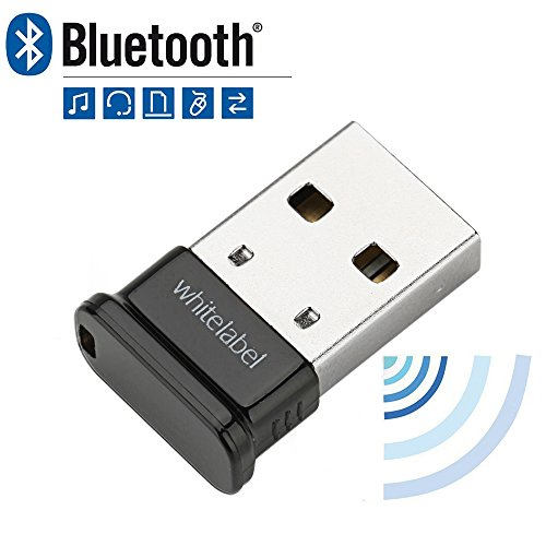 Whitelabel Émetteur et Récepteur Bluetooth 4.0 USB Adaptateur avec Vitesse de Transmission de 3 Mo/s Idéal Pour Système D'exploitation Windows 10 / 8.1 / 8 / 7 / Vista - Compatible avec un Casque Stéréo Bluetooth et D'autres Périphériques Bluetooth