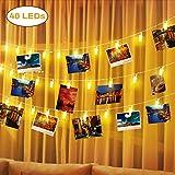 Elfeland LED Lichterkette Fotolichterkette mit 40 Led Fotoclips Bilder Licht Batteriebetriebene Warmweiße Stimmungsbeleuchtung für Festival Weihnachten Hochzeit Schlafzimmer Bar Cafe Dekoration