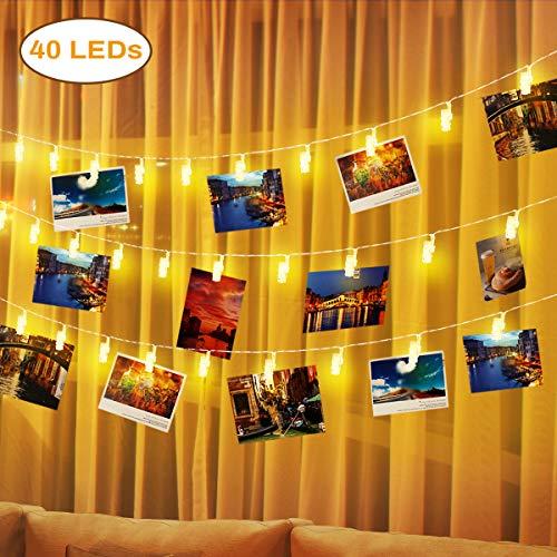 Cafe Farbton (Elfeland LED Lichterkette Fotolichterkette mit 40 Led Fotoclips Bilder Licht Batteriebetriebene Warmweiße Stimmungsbeleuchtung für Festival Weihnachten Hochzeit Schlafzimmer Bar Cafe Dekoration)