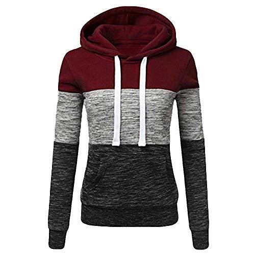 Damen T Shirt, CixNy Bluse Damen Sommer Mode Lässig Mit Kapuze Sweatshirt Patchwork Kapuze Pullover Oberteil Tops Schwarz Weiß Rot...
