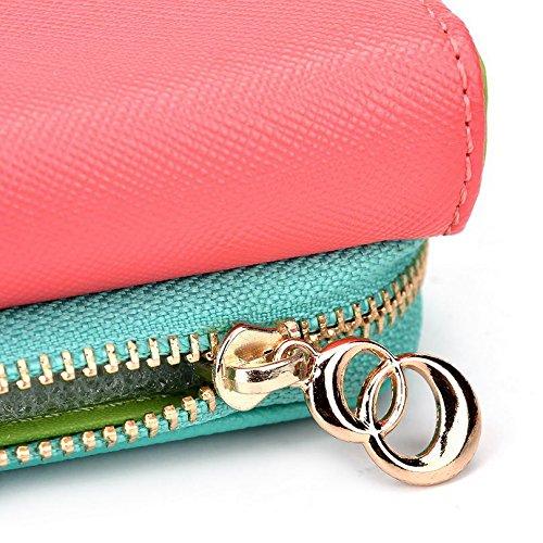Kroo d'embrayage portefeuille avec dragonne et sangle bandoulière pour ZTE Sonata 4G Smartphone Multicolore - Rouge/vert Multicolore - Rouge/vert