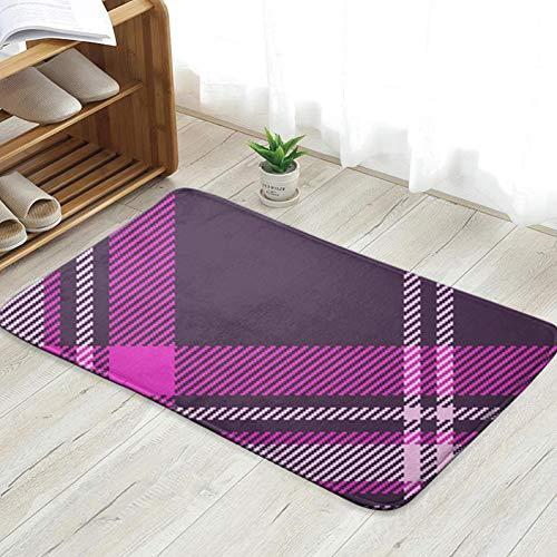 Nicegift Pink Purple Plaid Abstract Beauty Fashion Fußmatte Eingangsmatte Bodenmatte Teppich Innen/Haustür/Bad/Küche und Wohnzimmer/Schlafzimmer Matten 23,6 X 15,8 Zoll -