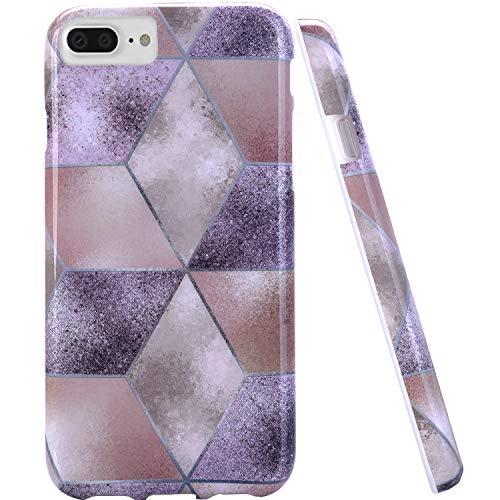 iPhone 7Plus Fall, iPhone 8Plus Fall, doujiaz Marmor Design Transparent Bumper TPU Soft Case Gummi Silikon Haut Cover iPhone 7Plus (2016)/iPhone 8Plus (2017), violett Silikon Iphone-fall