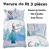 REINE DES NEIGES - Parure de lit (3pcs) - Housse de Couette (140x200) + Taie d'Oreiller (63x63) + Drap housse (90x190) - 100% Coton - Imprimé Arabesque