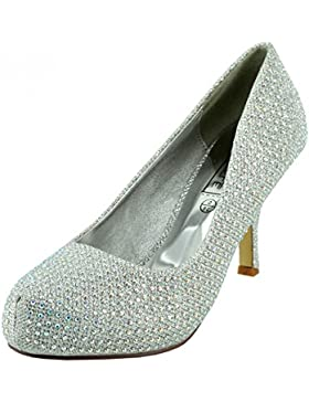 Kick Footwear - Donna Diamante tacco basso di Corte,il partito di scarpe,ballo scarpe da sposa