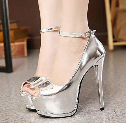 ZPPZZP Presidente, estate, sandali a tacco alto scarpe, impermeabile, unica e di stile occidentale con porta di luce 36EU