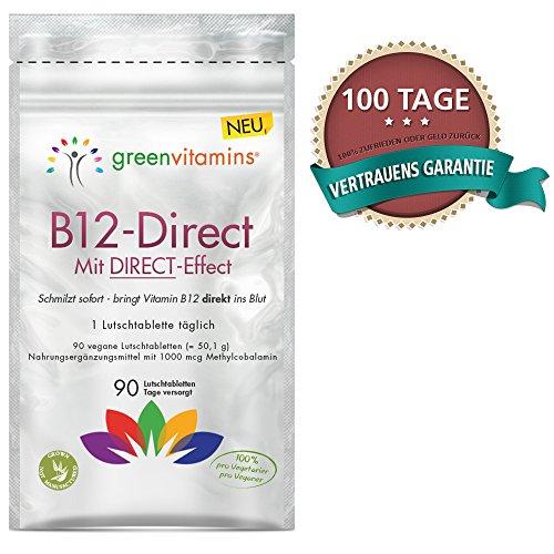 Vitamin B12 komplex, 90 Tabletten mit 1000mcg Methylcobalamin. Vegane Lutschtabletten mit Erdbeergeschmack für eine sublinguale Aufnahmen. B12-Direct von greenvitamins - 7