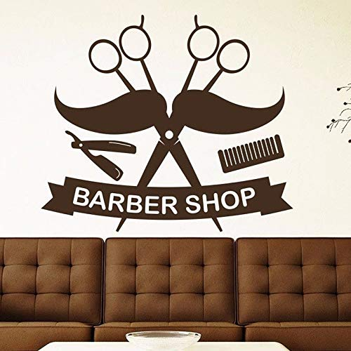 56x64cm Barber Shop Salon Wall Decal Scissors Mustache Houseware Vinyl Haircut Wall Sticker Hairdresser Dedicated