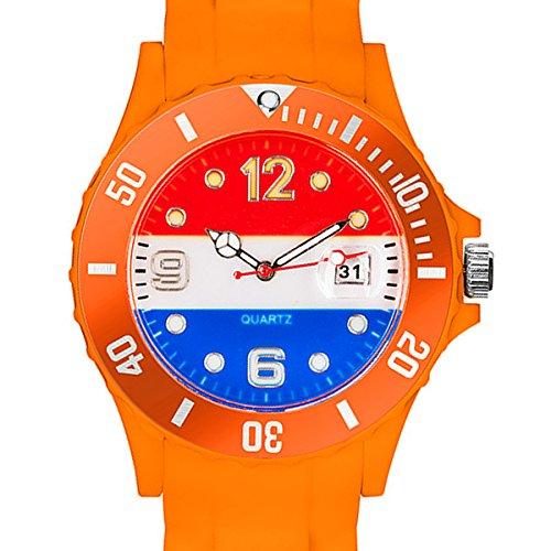 Taffstyle® Fanartikel Silikon Armbanduhr Gummi Trend Watch Quarz Fan Uhr mit Fussball Weltmeisterschaft WM & EM Europameisterschaft 2016 Länder Flaggen Style - Niederlande