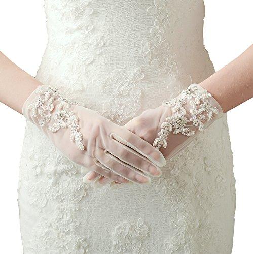 ArtiDeco Damen Lace Handschuhe Satin Braut Hochzeit Spitze Handschuhe Opera Fest Party Handschuhe 1920s Handschuhe Damen Kostüm Accessoires (Kurz ()