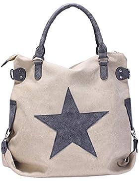 GWELL Vintage Schultertasche Canvas Tasche mit Stern Handtasche Umhängetasche