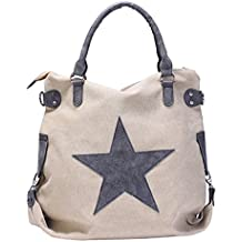 43a6a157cb086 GWELL Vintage Schultertasche Canvas Tasche mit Stern Handtasche  Umhängetasche