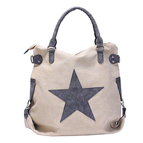 GWELL Vintage Schultertasche Canvas Tasche mit Stern Handtasche Umhängetasche beige