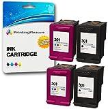 Printing Pleasure 4 XL Druckerpatronen für HP DeskJet 1000 1050 1050A 1050S 1055 2050 2050A 2050se 2510 2540 3000 3010 3050 3050A 3050S 3052A 3054A 3055A | kompatibel zu HP 301XL (CH563EE & CH564EE)