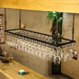 SJB Weinregale DNSJB Europäische Retro hängenden Becherhalter, Weinglashalter, Bar Tisch Weinhalter hängenden Weinglas Halter einfachen Haushalt (Farbe : SCHWARZ, größe : 120 * 40cm)