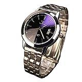 YAZOLE Reloj de pulsera, de negocios, impermeable, luminoso, correa de acero inoxidable, fecha,...