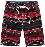 i-select Bañador Para Hombre Tipo Bermuda Secado Rápido (L,Diagonal Rojo)