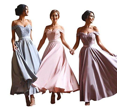 NUOJIA Knöchel Länge Brautjungfer Kleider für Hochzeits Party Ballkleider 2018 Erröten 48