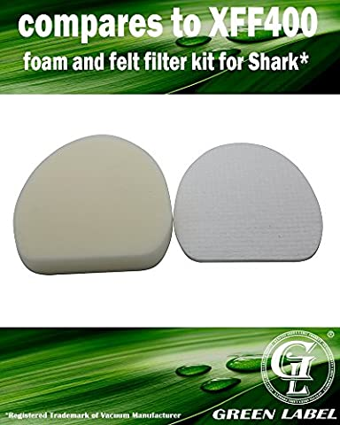 For Shark Foam and Felt Filter Kit for Rotator Vacuum Cleaners (Compares to XFF400). Genuine Green Label product.
