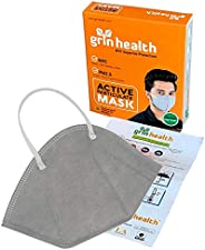 Grin Health N95 Anti Pollution with 4 Layer Protective Filters Washable Reusable (Pack of 1, Grey)