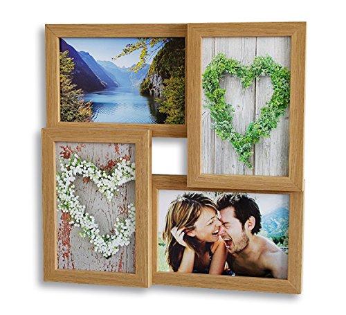 levandeo Holz Bilderrahmen hochwertig verarbeitet für 4 Fotos 10x15cm mit Glasscheiben Farbe: Eiche Natur Braun - Fotogalerie Collage Fotocollage Bildergalerie Fotorahmen