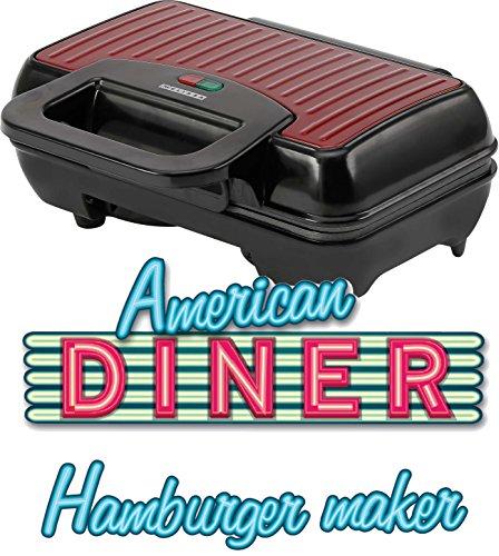 MELISSA 16250060 Burger Maker elektrisch 800 Watt, Hamburger Grill für 2 Patties oder 2 Frikadellen gleichzeitig