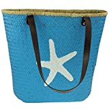 MACOSA HOME Tolle Strandtasche Badetasche Handtasche XXL Stroh-Tasche blau mit Aufdruck Lederriemen Beach Bag (Stern)