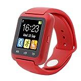 Reloj Bluetooth,Xinan Reloj Inteligente Podómetro para iPhone LG Samsung TELÉFONO U80 (Rojo)
