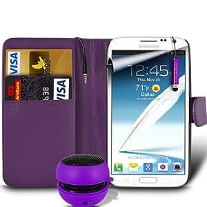 Samsung Galaxy Note 2 livre en cuir Executive N7100 Wallet Housse Etui peau avec carte de crédit et billets de banque Slots - Mini Capacitive Stylus Pen - garde protecteur d'écran LCD & Mini Capsule rechargeable Speaker - violet