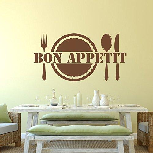 Bon Appetit Küche Wand Zitat Abnehmbare Vinyl Wand Aufkleber für Shop Office Home Esszimmer, Vinyl, Custom, 30